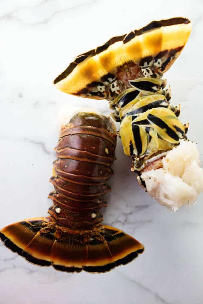 Two raw lobster tails still in their shells.