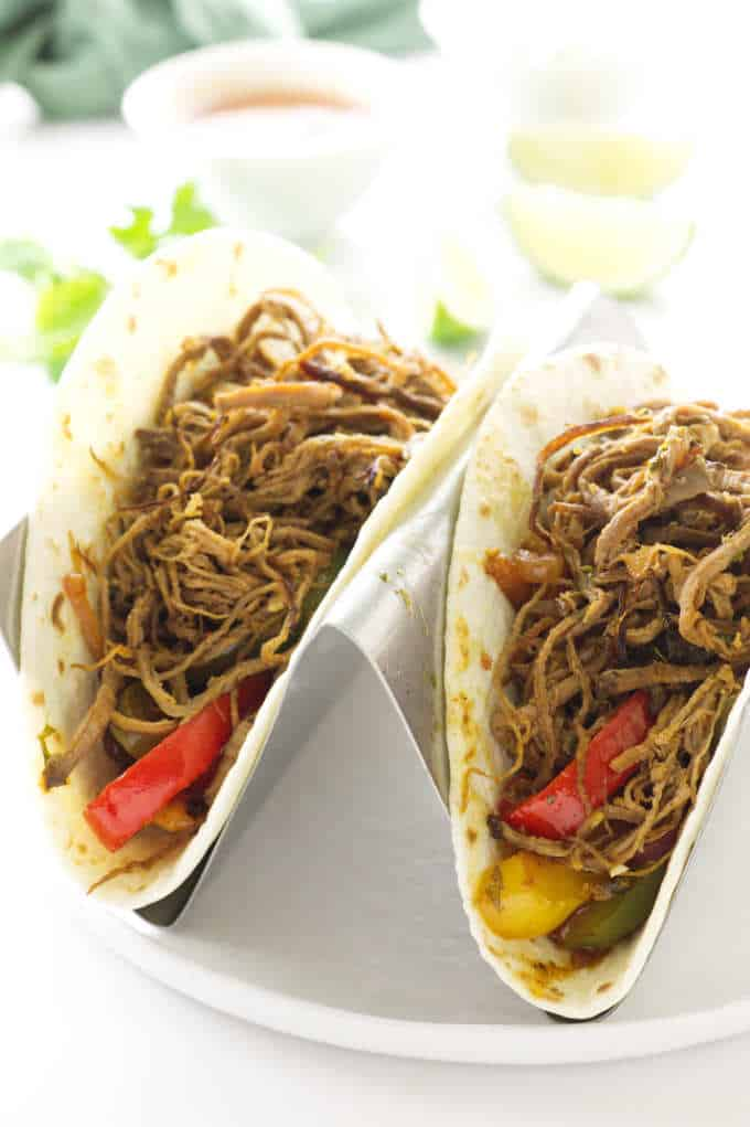 two beef fajitas in stand-up rack