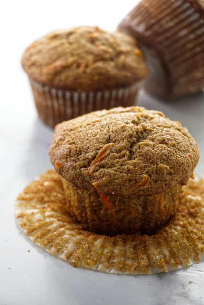 Three carrot spelt muffins.
