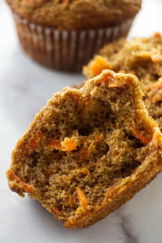 A carrot muffin split in half.