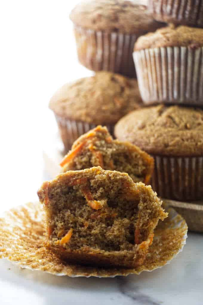 A stack of carrot spelt muffins.