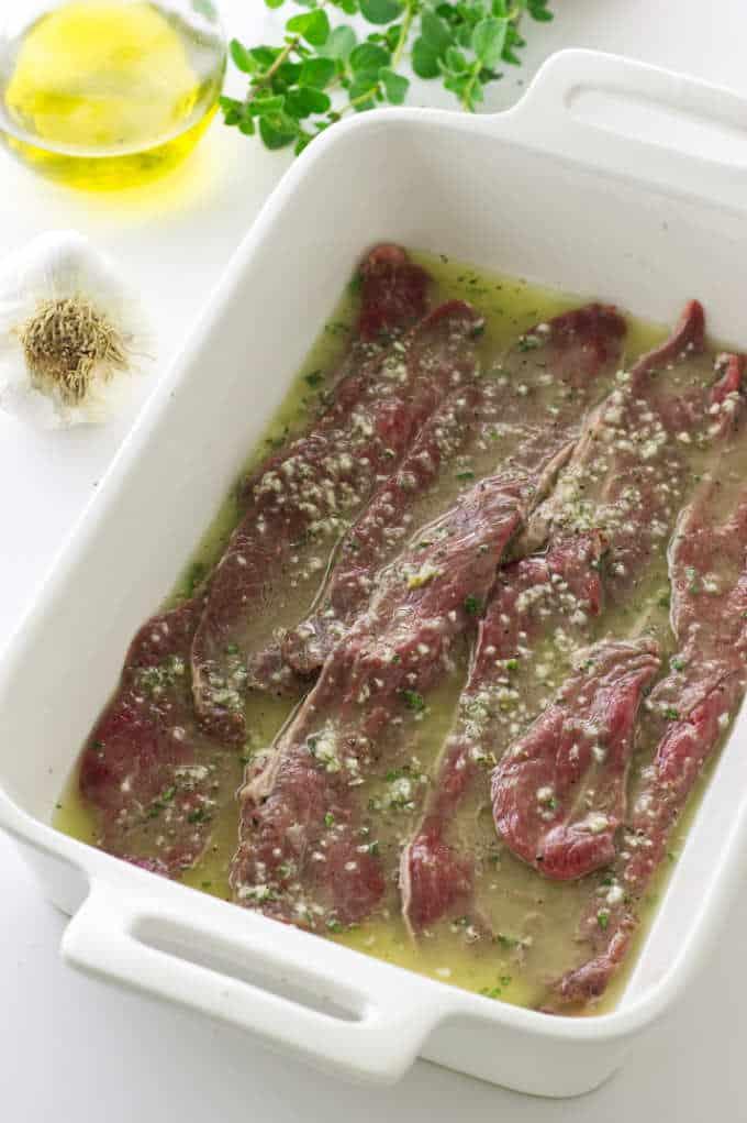 Lamb slices in marinade