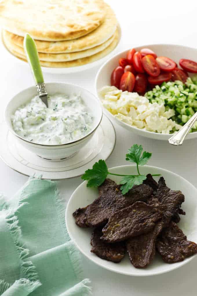 The makings for Greek lamb pitas