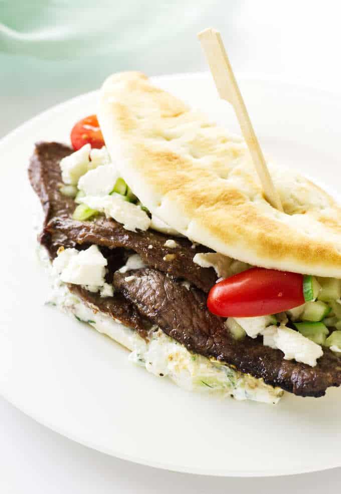 Close up view of Greek lamb pita on a plate