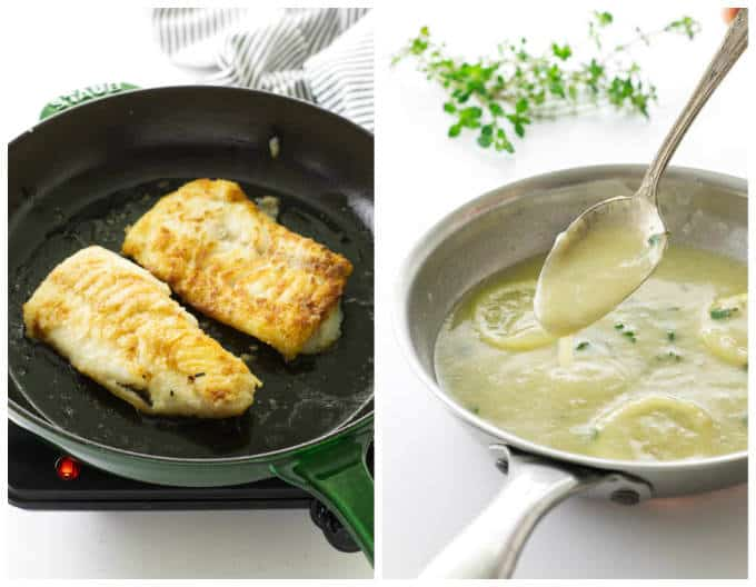 Collage of two cod fillets in skillet/small skillet with lemon-garlic sauce