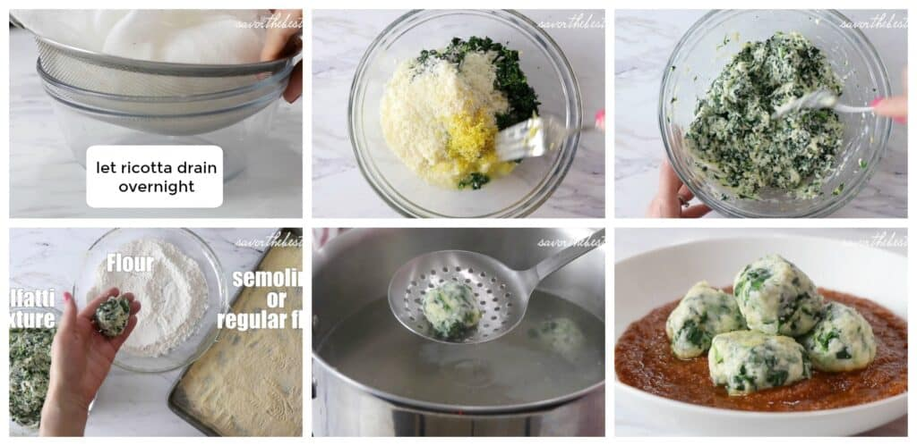process photos showing how to make malfatti.