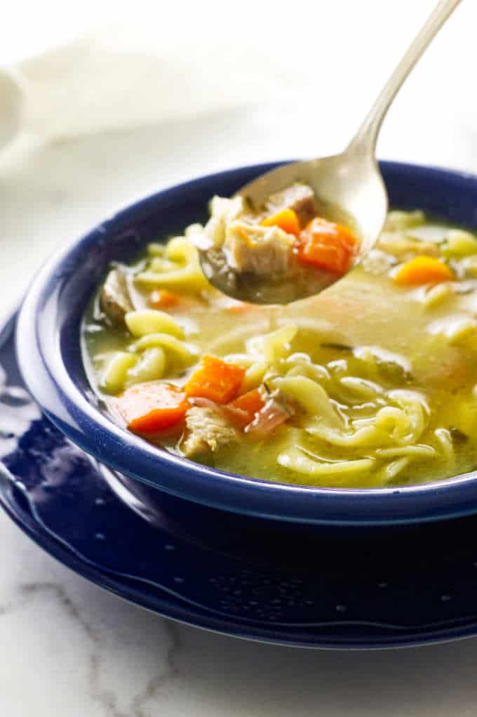 bowl of turkey noodle soup and spoon