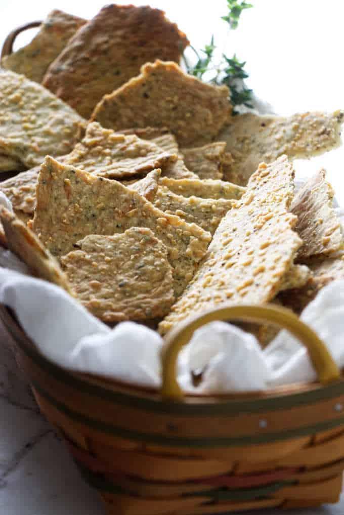 Sourdough crackers in a basket.