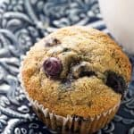 Close up of a spelt blueberry muffin.