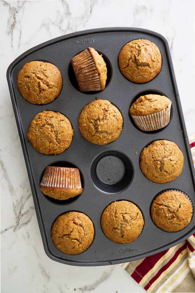 Carrot spelt muffins fresh out of the oven.