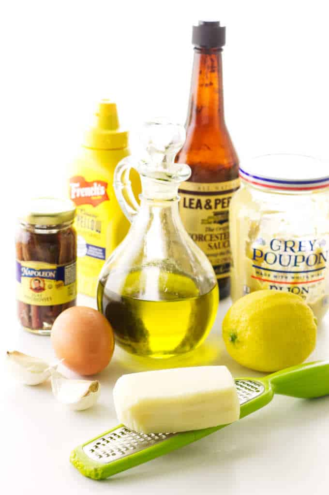 Ingredients for Caesar Salad Dressing