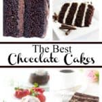 collage of chocolate cakes