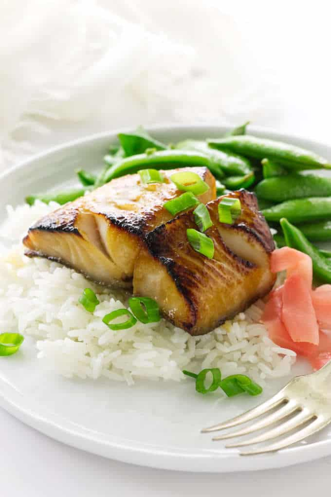 Broiled black cod, rice, pickled ginger and sautéed snap peas
