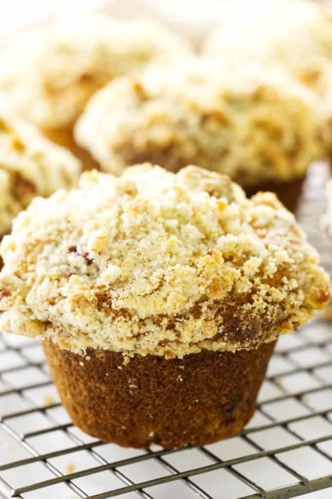 Close up view of a cranberry muffin with walnut streusel