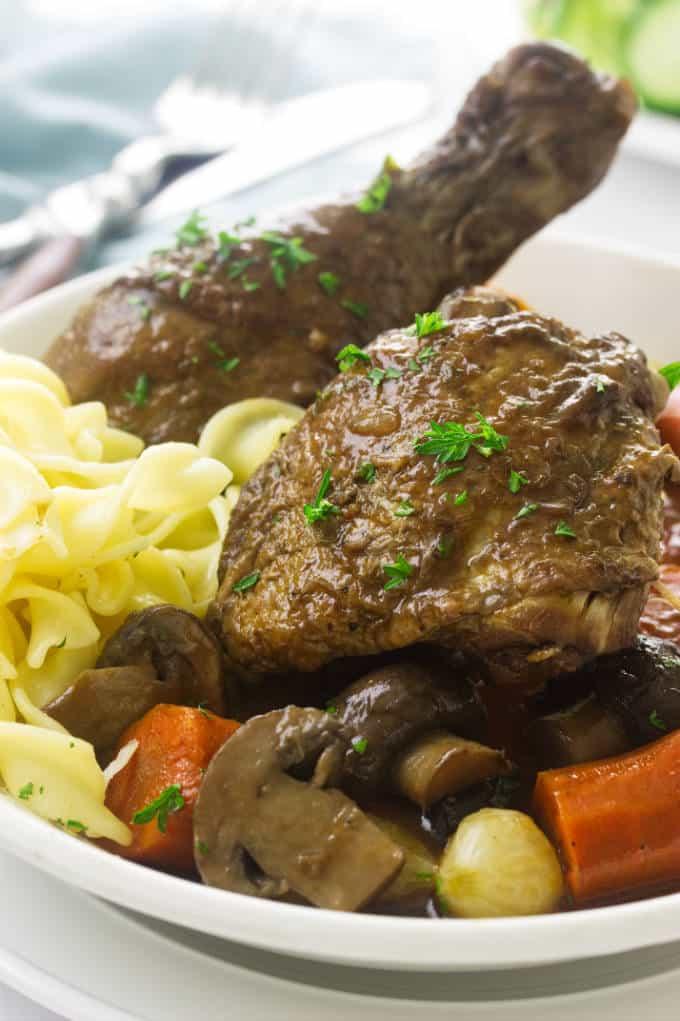 close up of Coq au Vin dinner.