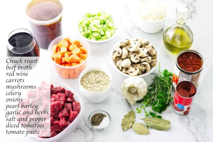 Individual ingredients needed for beef barley soup.