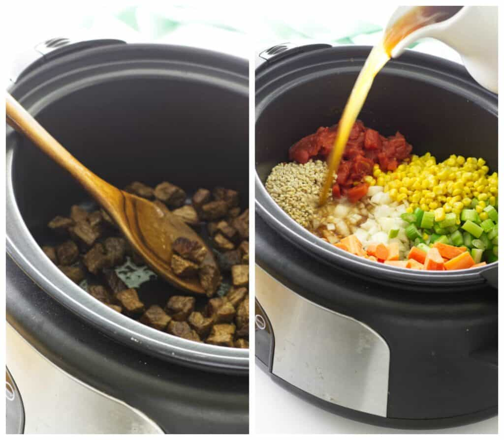 Process photos of slow cooker beef barley soup