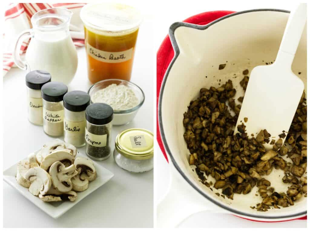 College of ingredients for condensed cream of mushroom soup/ saucepan with sautéed mushrooms