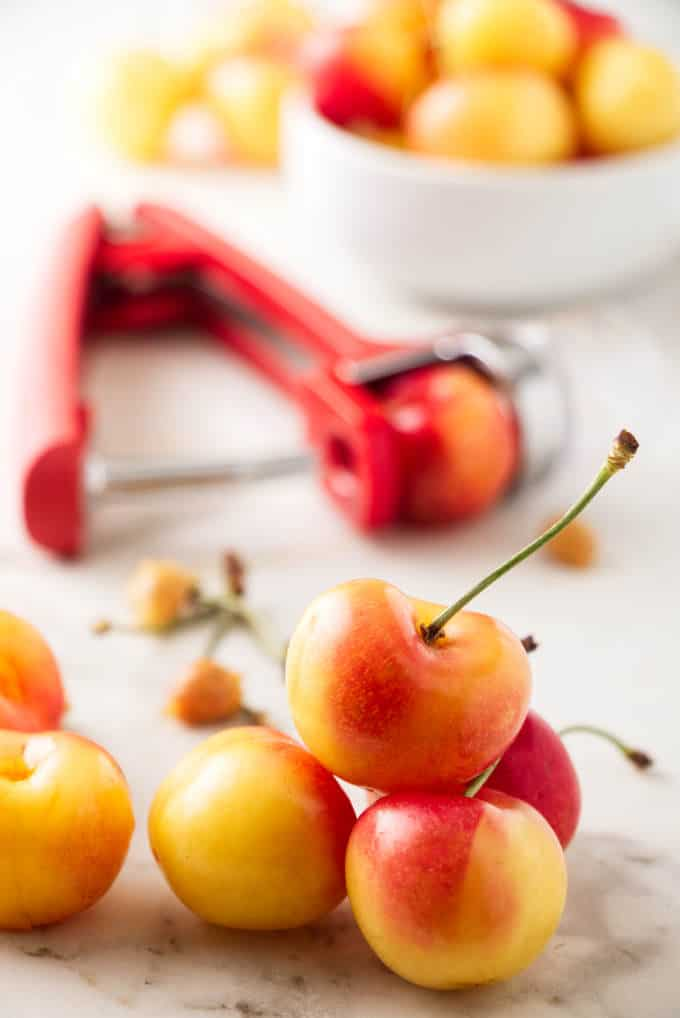 Rainier cherries with a cherry pitter in the background.