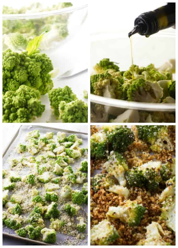 Collage showing the process for how to make roasted romanesco.