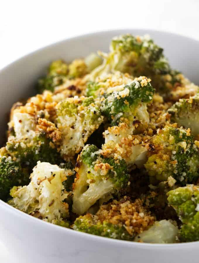 A serving bowl with roasted romanesco.