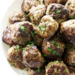 Overhead view of browned meatballs