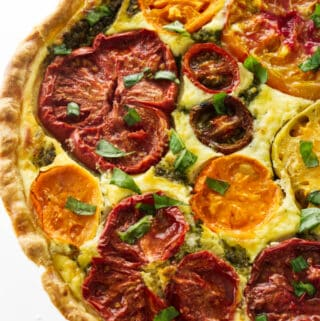 Overhead view of a heirloom tomato-ricotta tart