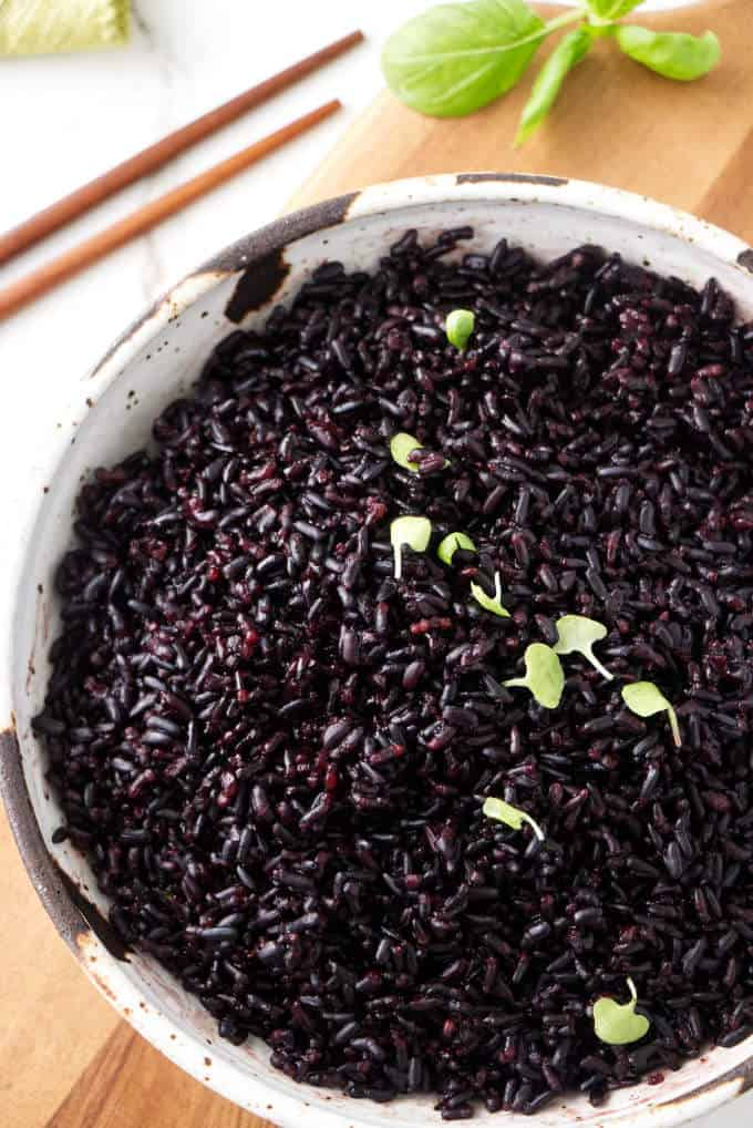 Close up of a bowl of instant pot black rice.
