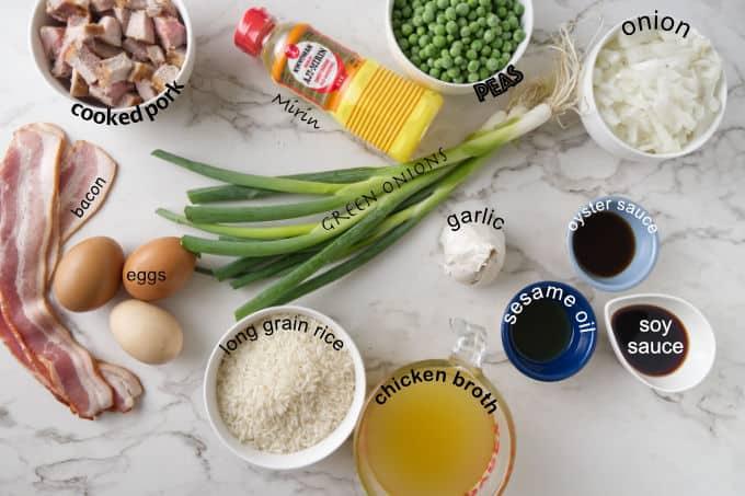 ingredients used in pork fried rice.