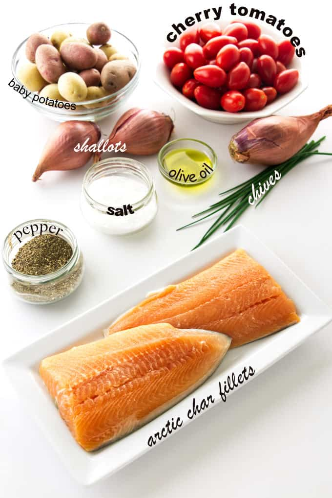 ingredients needed for baked arctic char with roasted vegetables