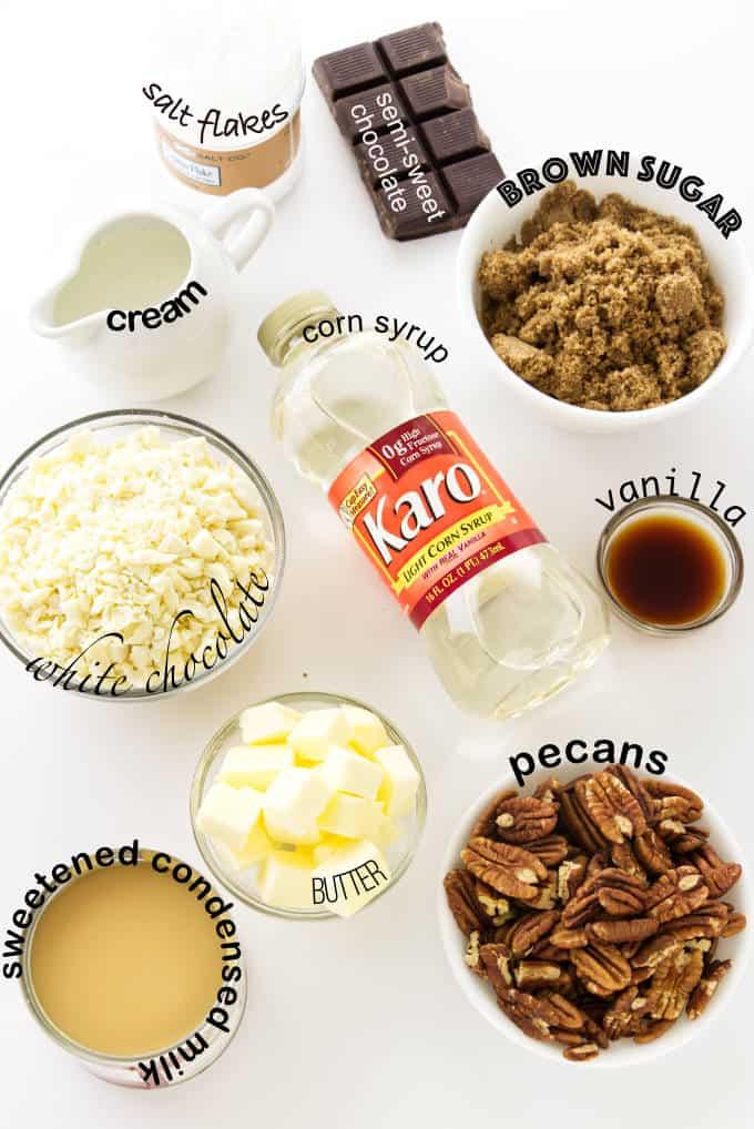 Ingredients used to make brown sugar fudge.