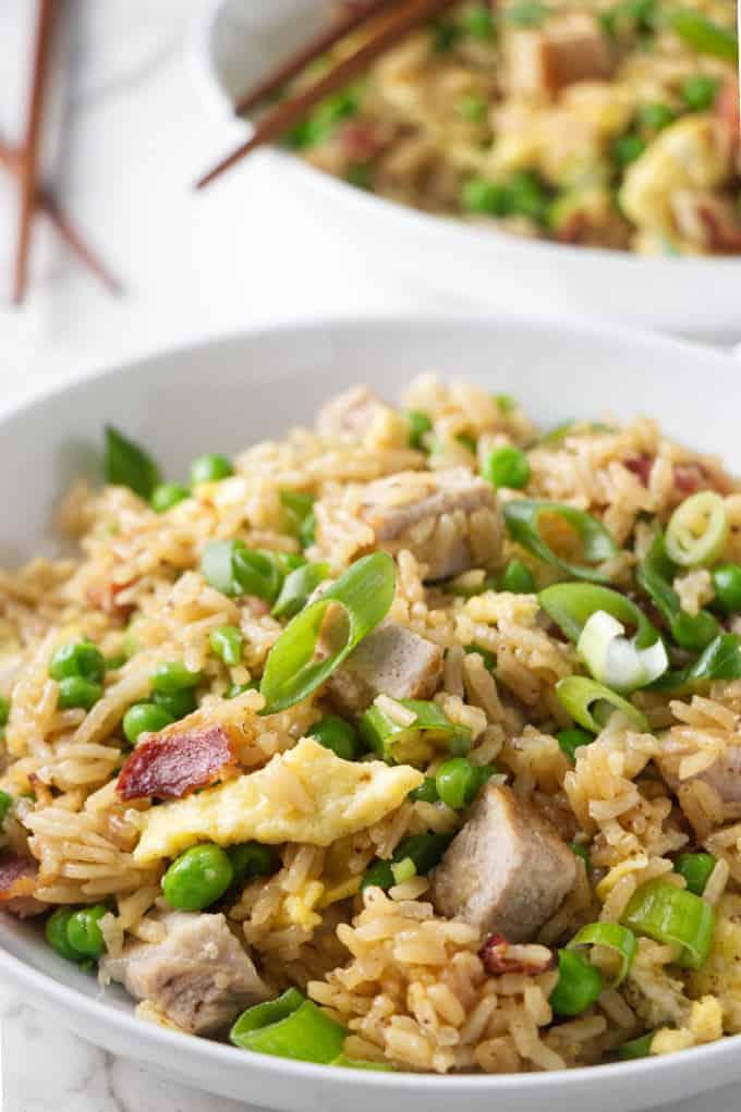 closeup of instant pot pork fried rice.