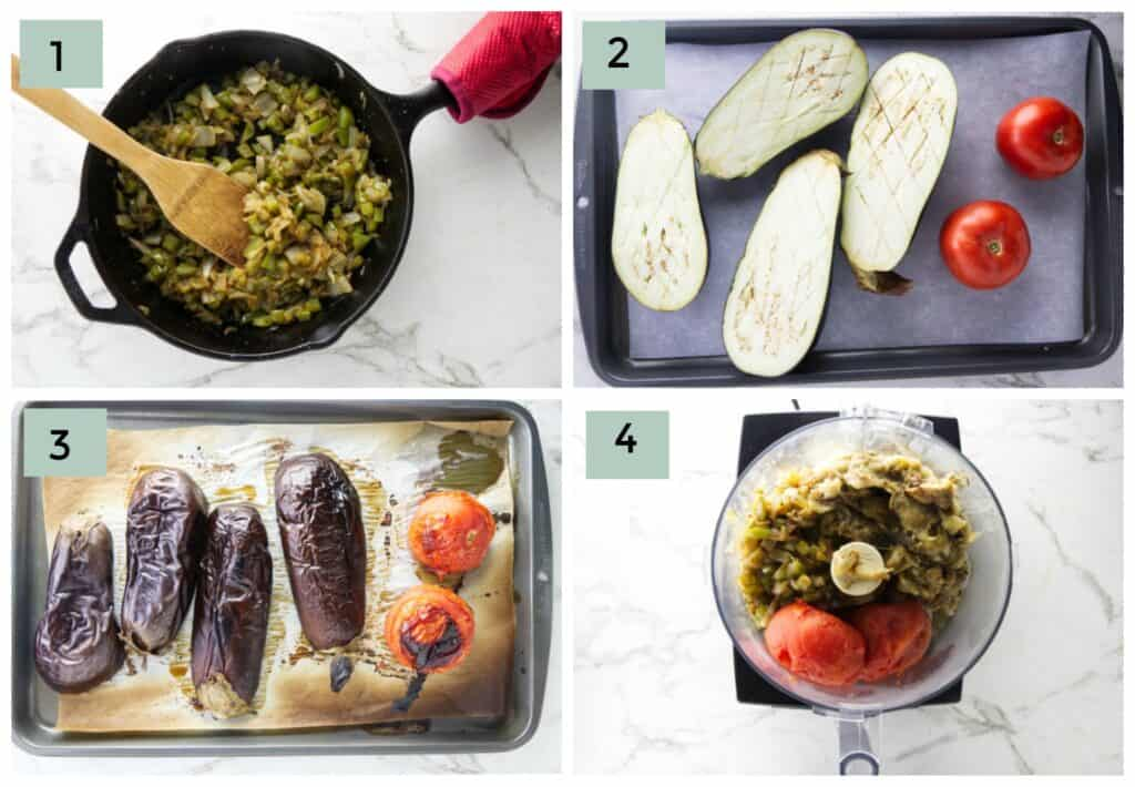 Collage of four photos showing the process steps for making eggplant caviar.