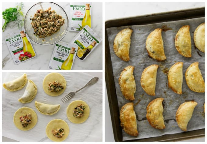 process photos for making tuna empanadas