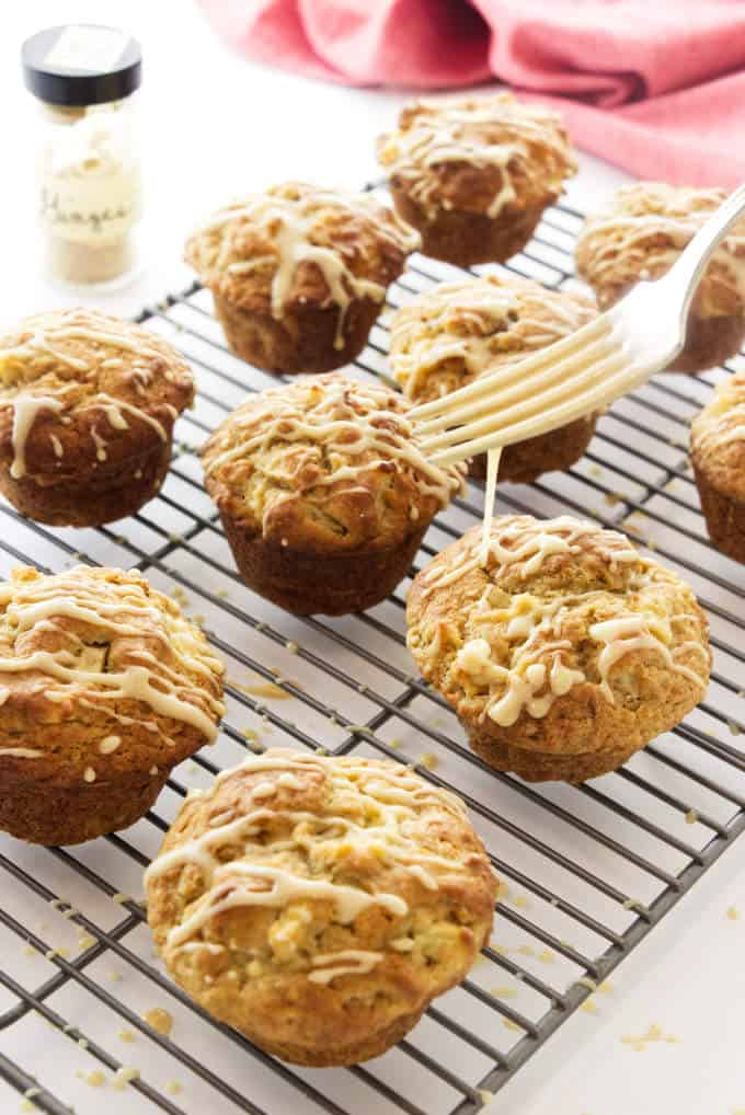 Drizzling icing on apple ginger muffins.