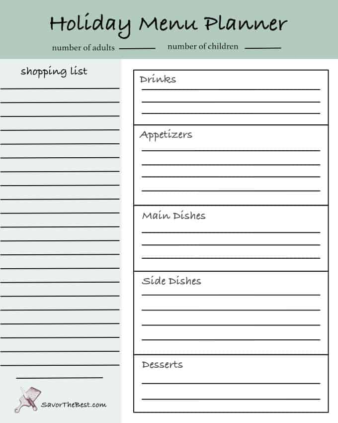 image of holiday menu planner printable.