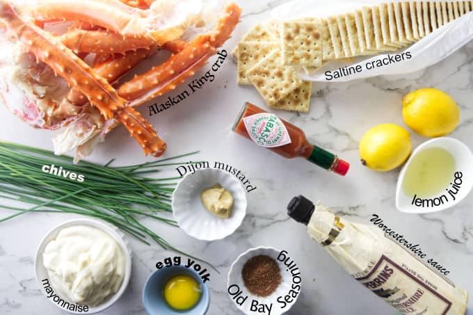 Ingredients used for making Alaskan King crab cakes.