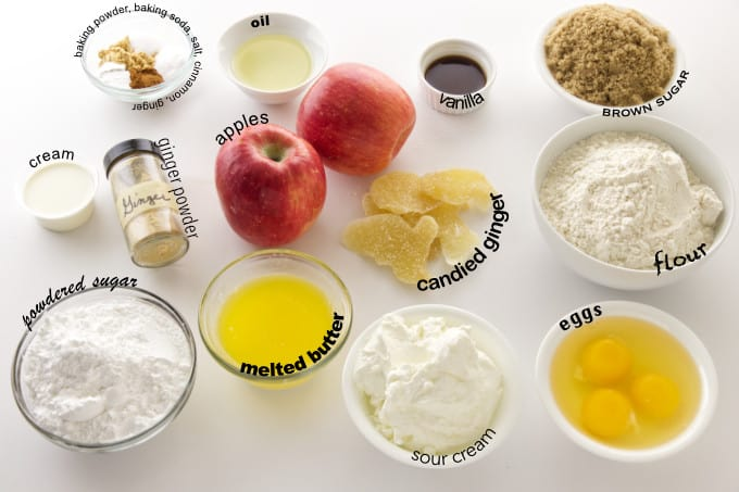 Ingredients used for apple ginger muffins.