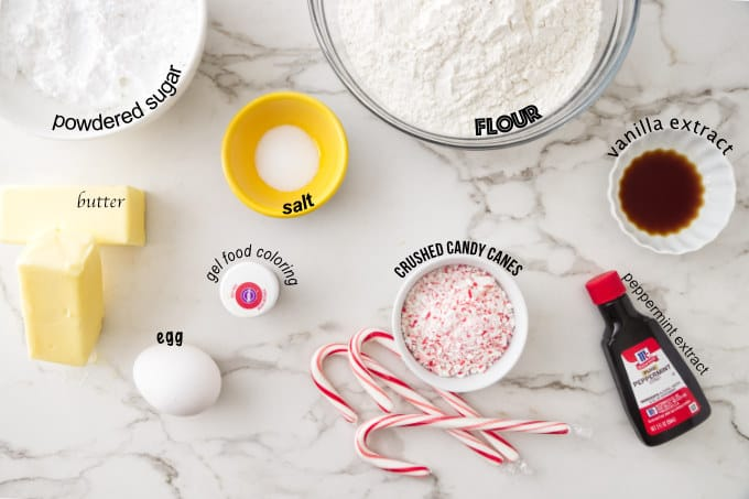 ingredients needed for candy cane cookies.