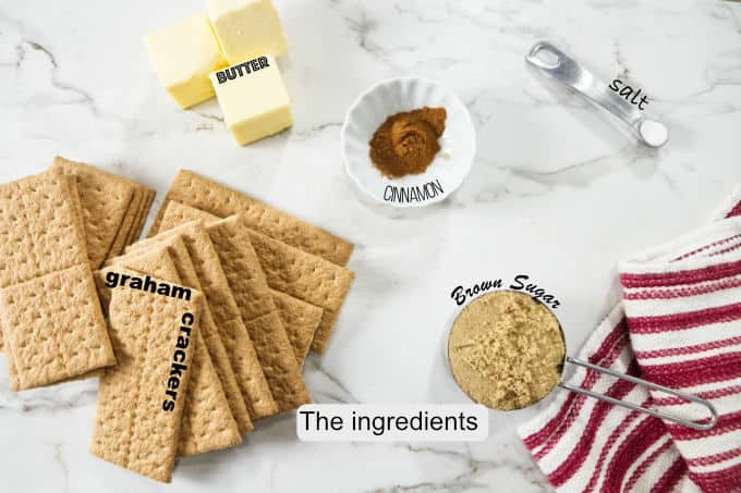 The ingredients needed for a graham cracker crust.
