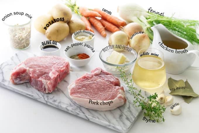 Ingredients needed for pork chop pot roast dinner.