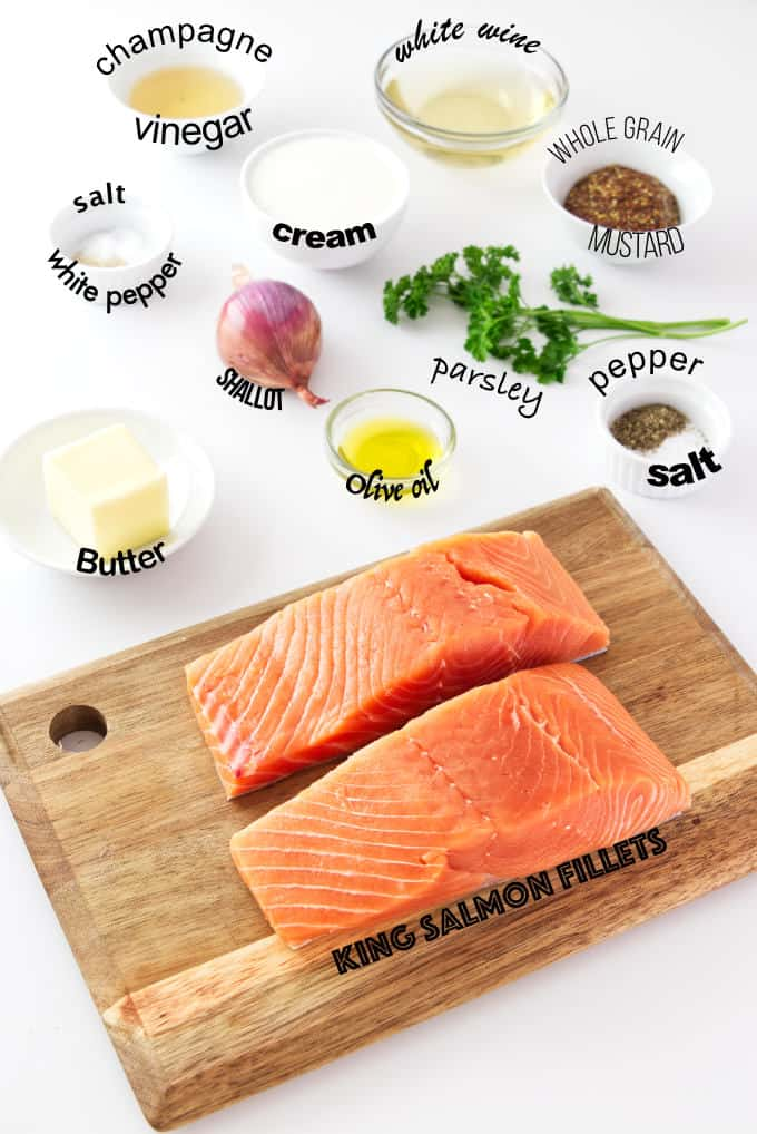 ingredients needed for salmon with mustard sauce.
