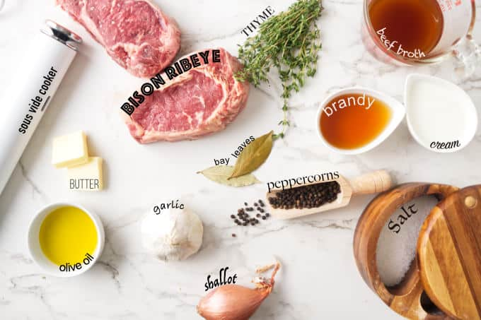 Ingredients needed for sous vide bison ribeye with peppercorn sauce.