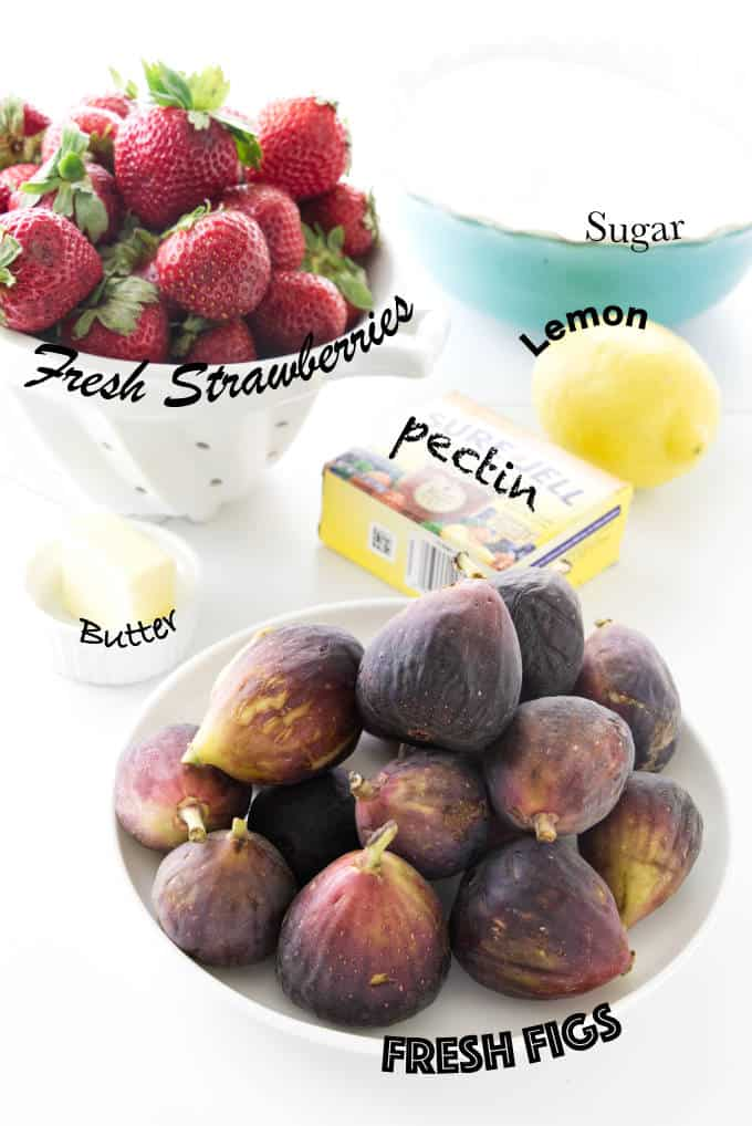 Ingredients needed for fresh strawberry fig jam.