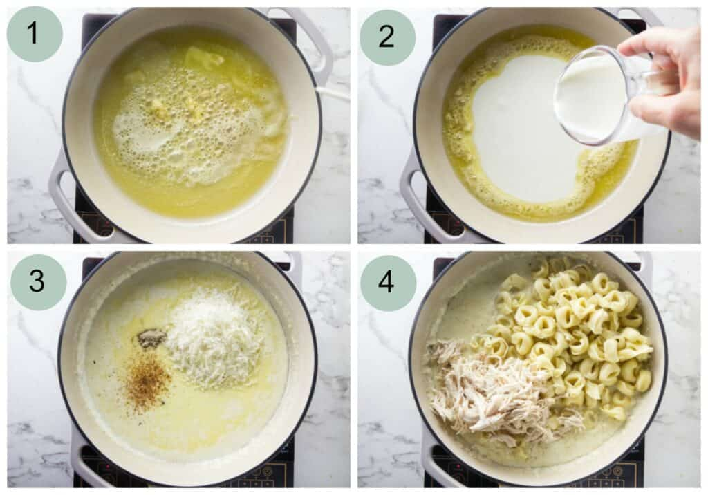 Process photos showing how to make Chicken Tortellini Alfredo