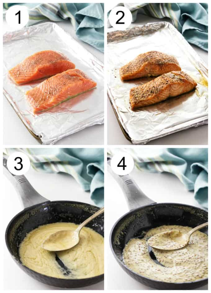 process photos showing how to make baked salmon with mustard sauce.