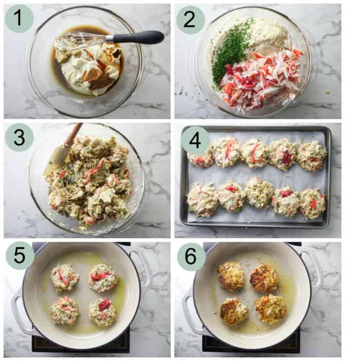 process photos showing how to make Alaskan King crab cakes.