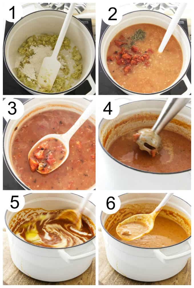 process photos for making Fire-Roasted Tomato Bisque