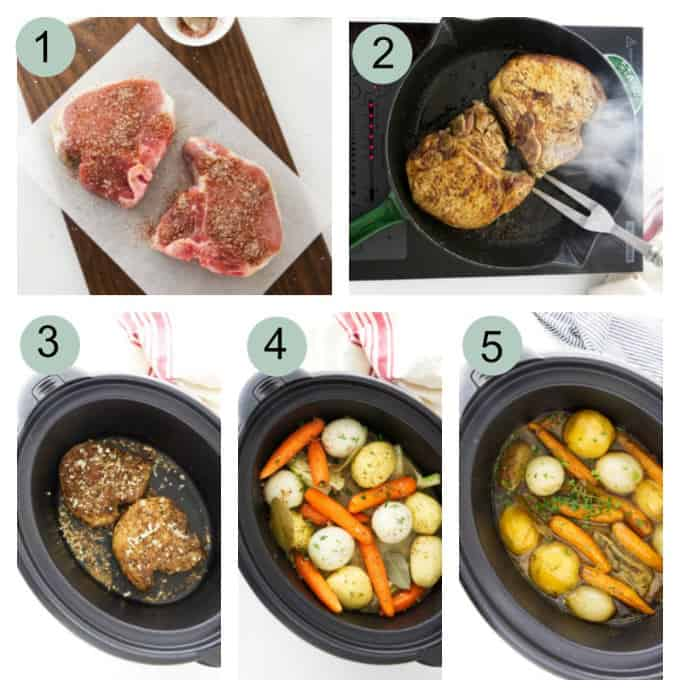 process photos showing how to make pork chop pot roast in a slow cooker.