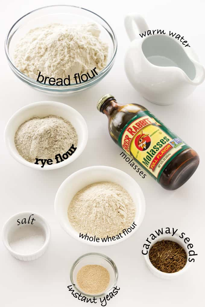 Ingredients used to make no knead rye bread.